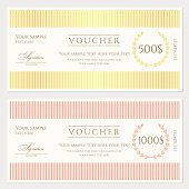 Voucher / Gift certificate / Coupon template (banknote, money, currency, cheque, check)