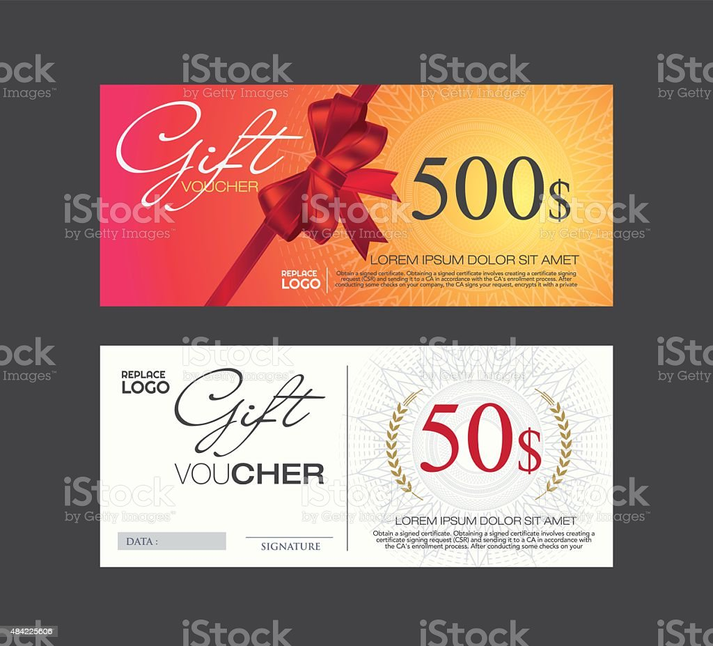 Voucher Gift Certificate Coupon Template Stock Vector Art & More ...