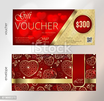 Voucher Gift Certificate Coupon Template Vintage Pattern Background