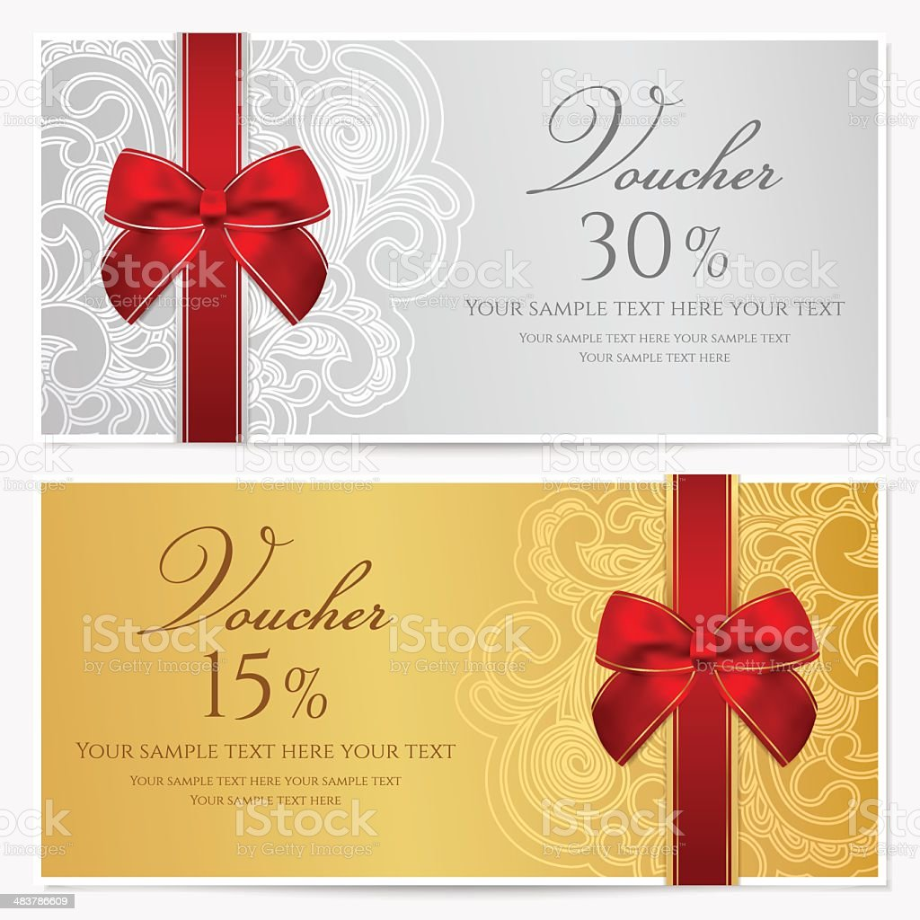 Voucher/ Gift certificate / Coupon template with border, frame, bow (ribbons) vector art illustration