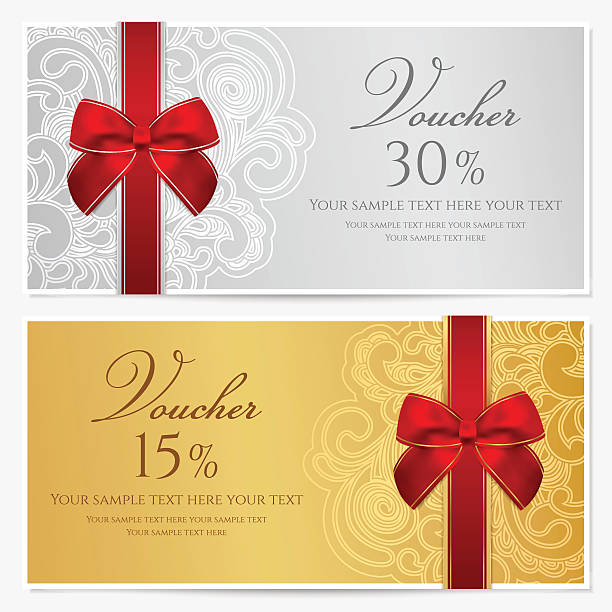 voucher/ gift certificate / coupon template with border, frame, bow (ribbons) - tickets and vouchers templates stock illustrations