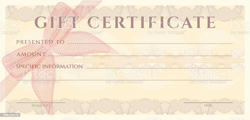 Voucher Gift Certificate Coupon Ticket Template Guilloche ...