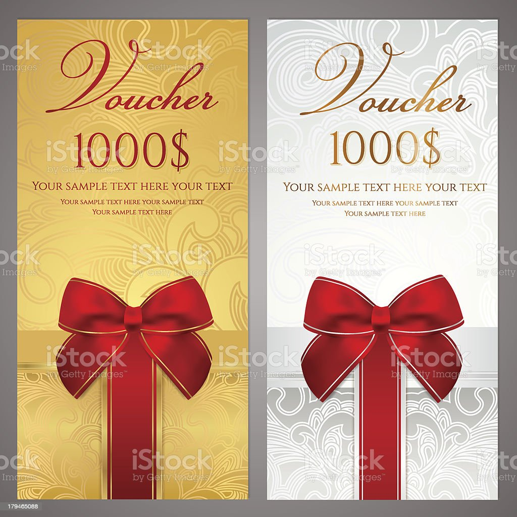 Voucher Gift Certificate Coupon Ticket Template Holidays Boxes Stock