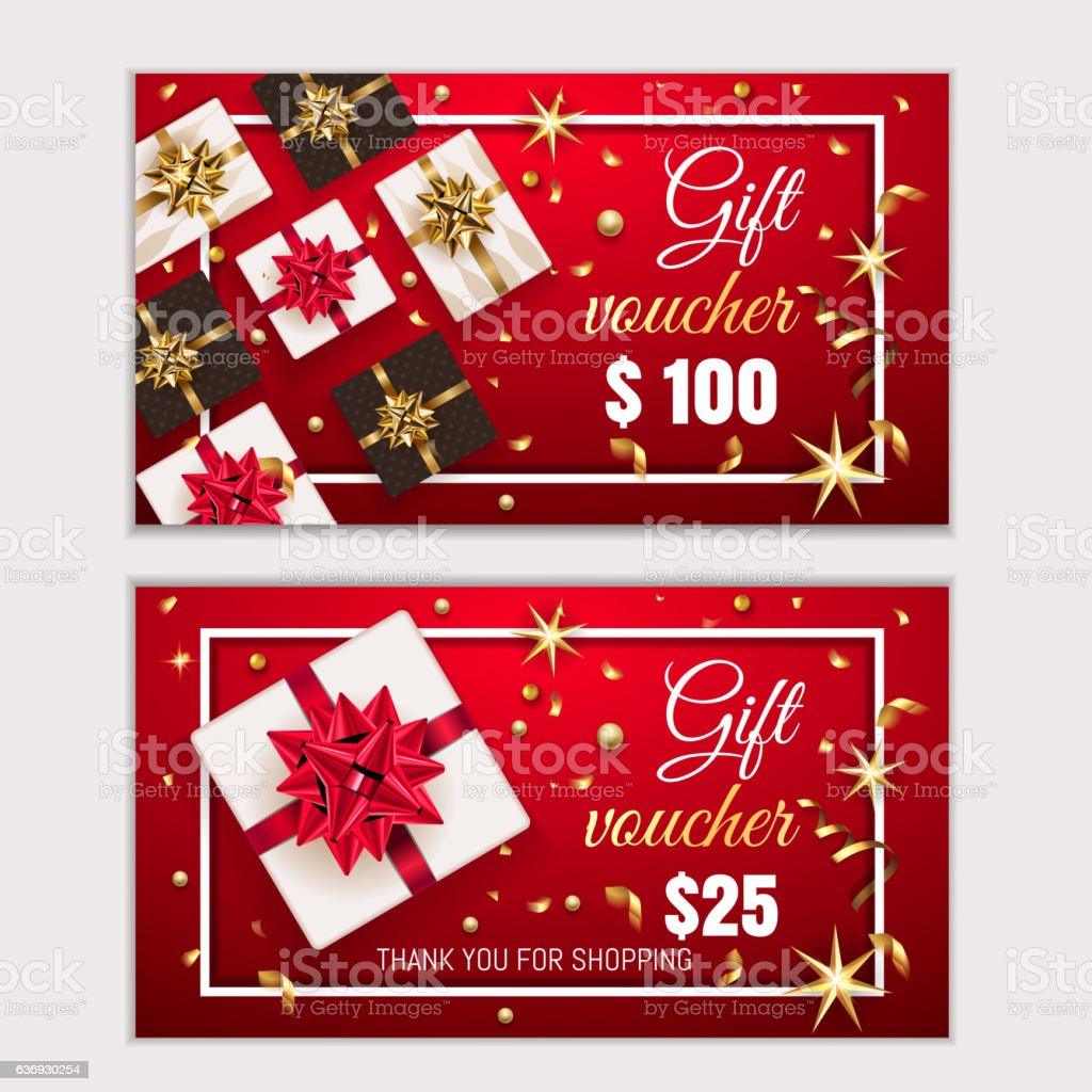 Voucher Gift Christmas Certificate Coupon Template Stock Vector Art
