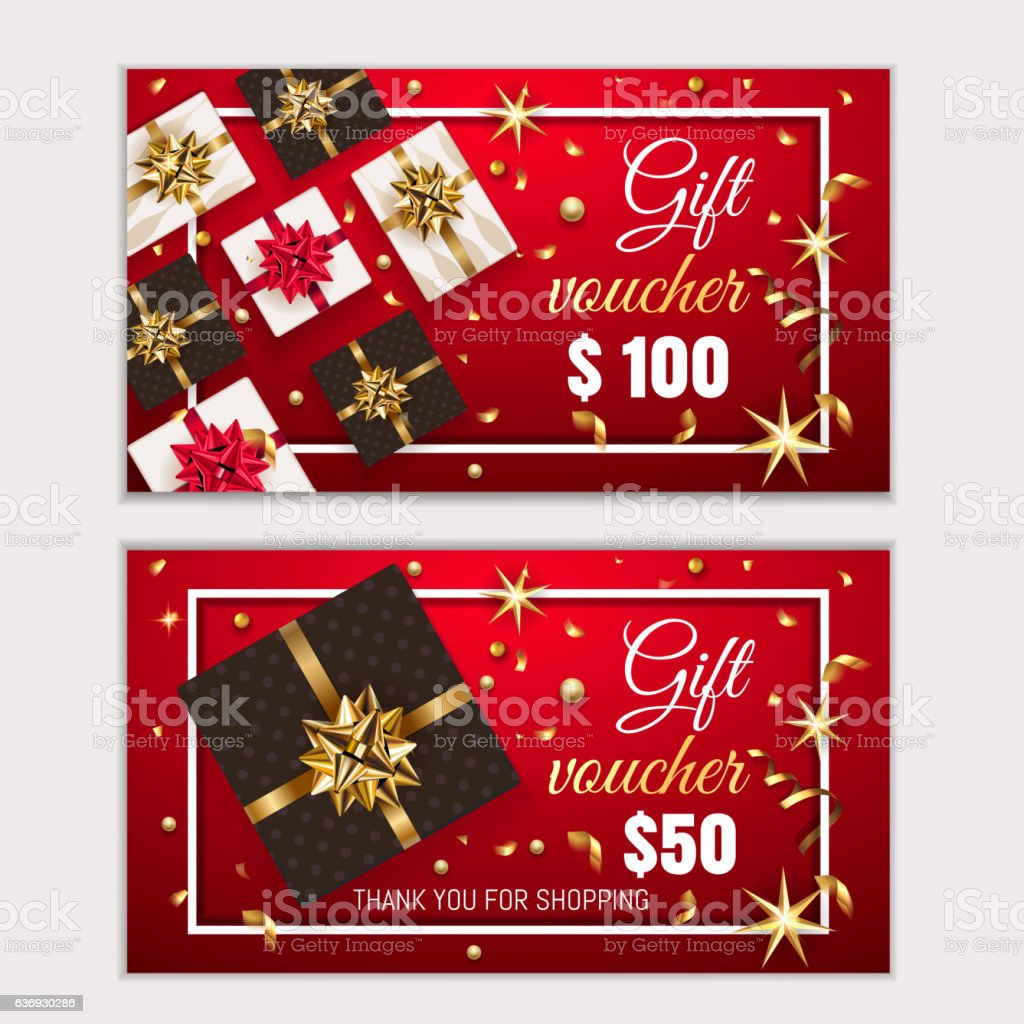 Voucher Gift Christmas Certificate Coupon Template Stock Vektor Art