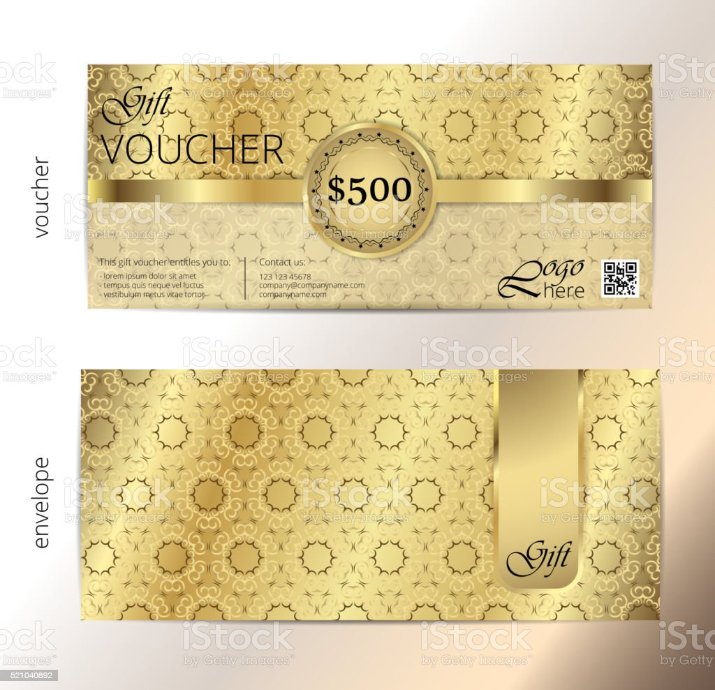 Voucher Gift Luxury Certificate Coupon Template Vintage Pattern