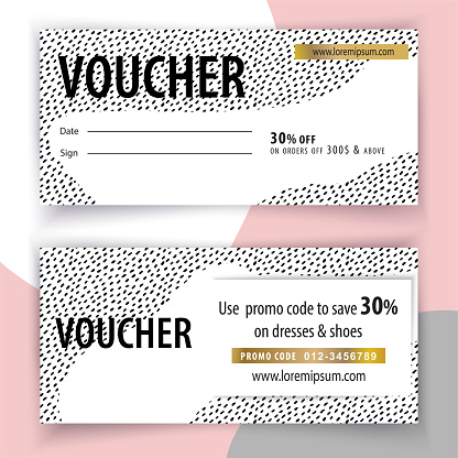 Voucher grunge trendy blob template. Black white hand drawn blots and black grey blob spatters for wedding card, mothers day, womans day
