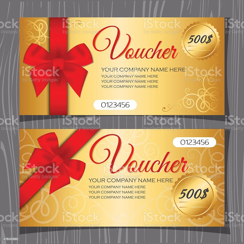 Voucher Template Gift Certificate Template stock vector art – Template for a Voucher