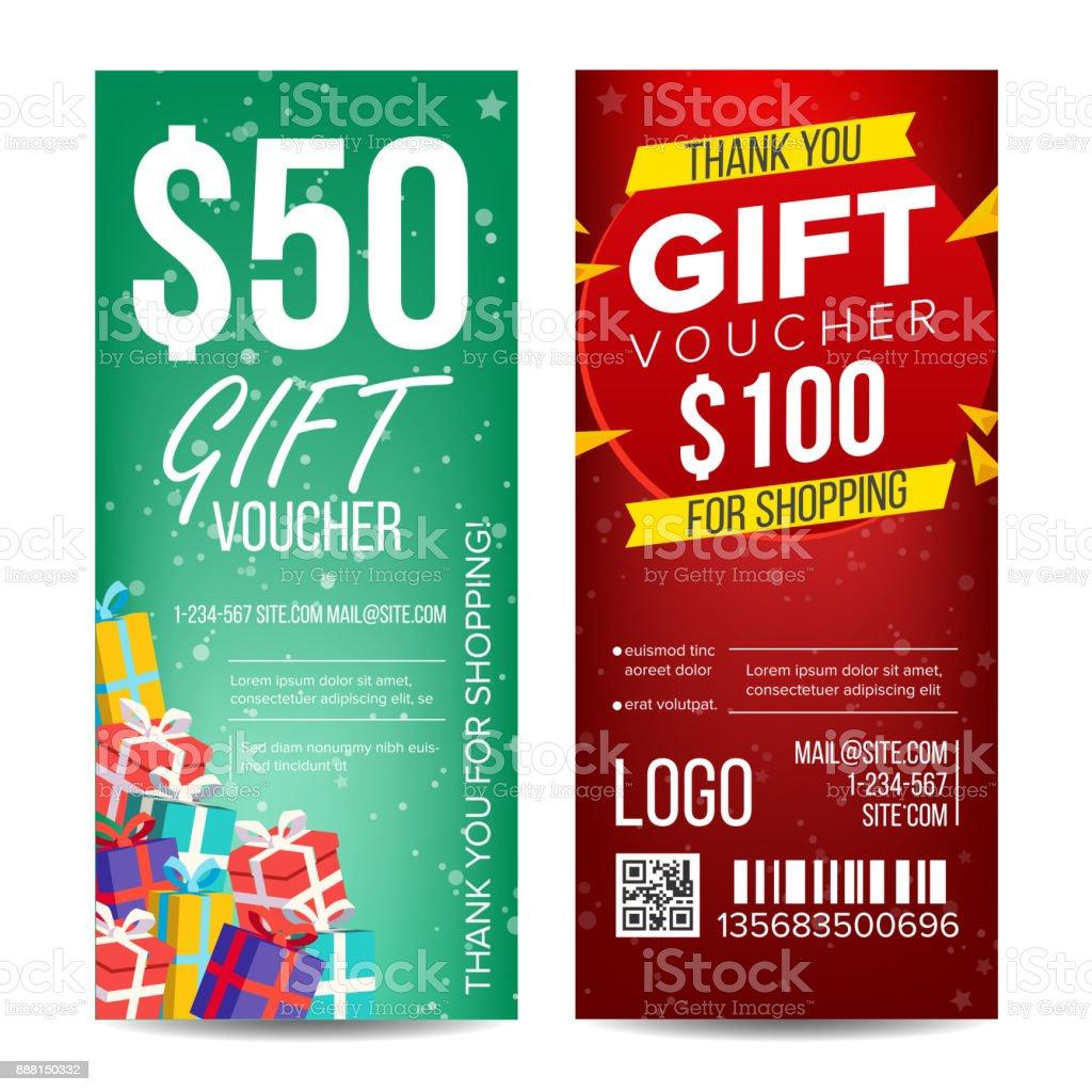 voucher template vector vertical card gift certificate business card