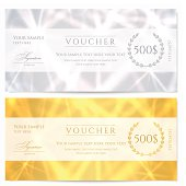 Voucher (Gift certificate / Coupon) template with abstract pattern, sparkling stars