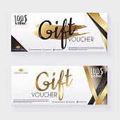 Voucher template with gold gift box,certificate. Background design coupon, invitation, currency. Vector illustration.
