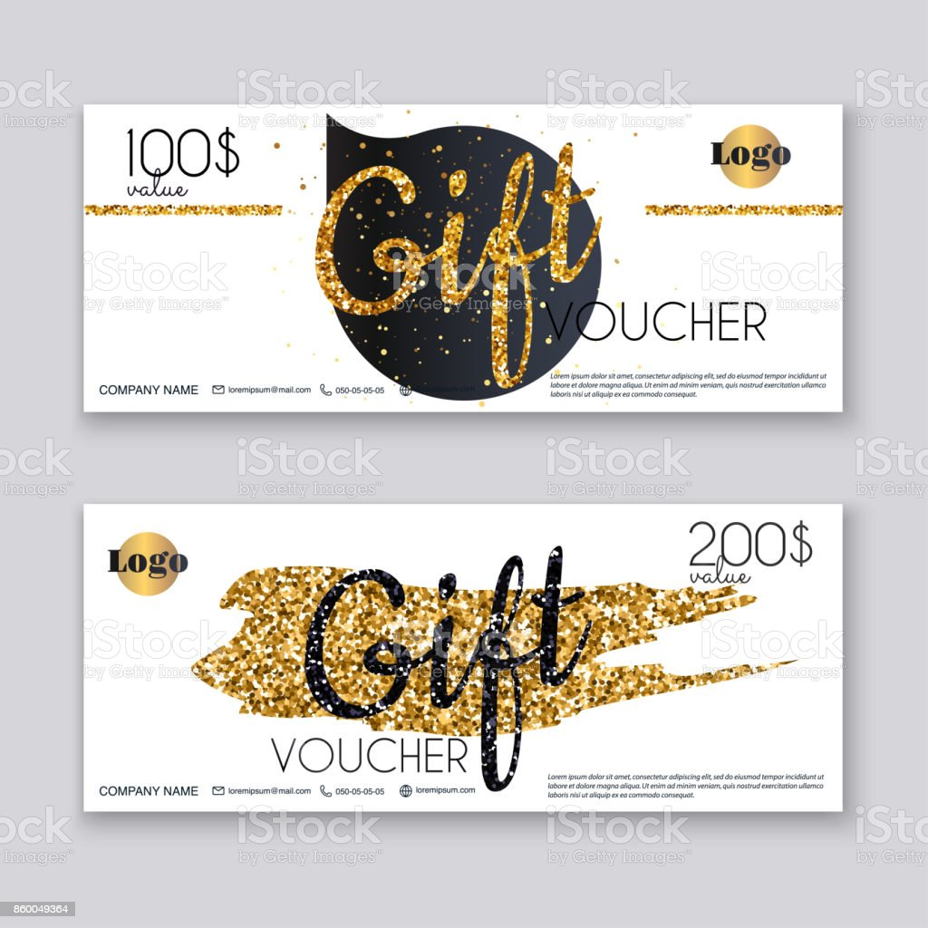 voucher template with gold gift boxcertificate background design