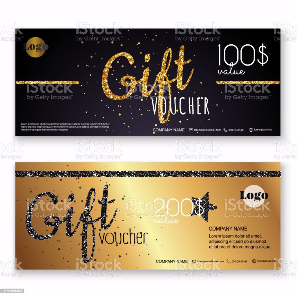 Gutschein Vorlage Mit Gold Geschenkbox Zertifikat Hintergrund Design ...