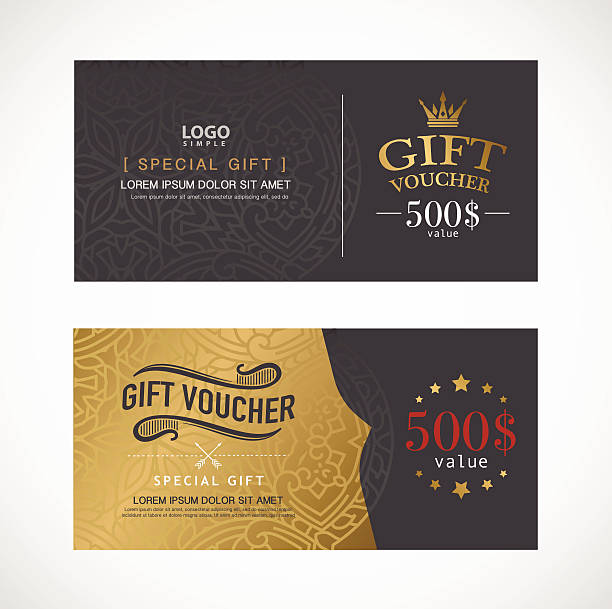 voucher template with premium modern design template. vector - black tie events stock illustrations, clip art, cartoons, & icons