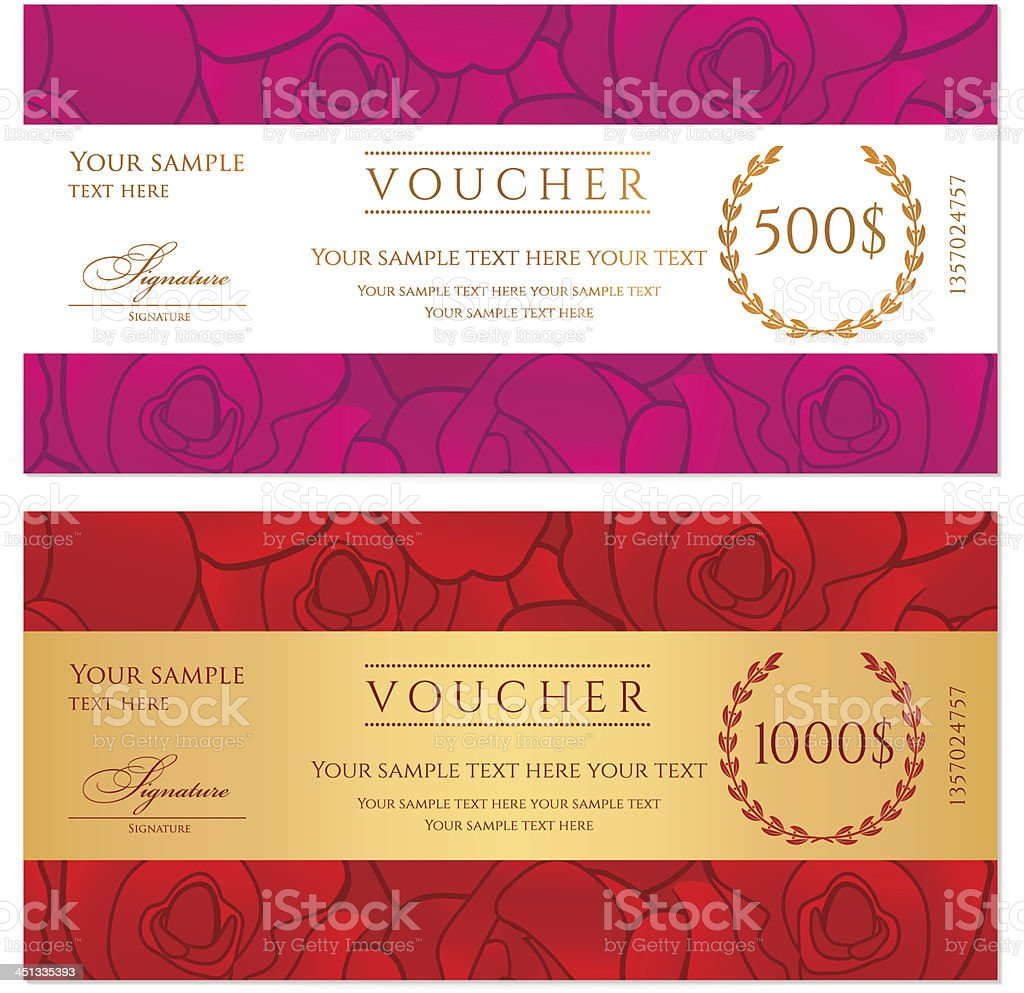 Voucher (Gift certificate / Coupon) template (background) with rose pattern, flower royalty-free stock vector art