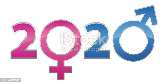 istock Vow card concept for the year 2020 using the male and female symbols. 1177458542