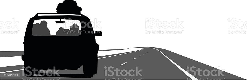 Voyage By Car vector art illustration