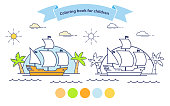 A voyage on a galleon palm tree.Sailing ship coloring book for children.