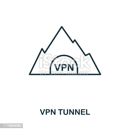 Vpn Tunnel icon outline style. Simple glyph from icons collection. Line Vpn Tunnel icon for web design and software.