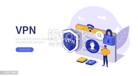 People Character Standing near Secure Web Page and Virtual Private Network sign. Man using VPN Service to Protect his Personal Data. Privacy Protection concept. Flat Isometric Vector Illustration.