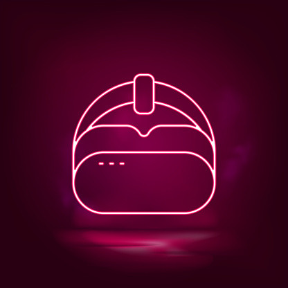 Vr, hat neon icon - vector. Artificial intelligence.