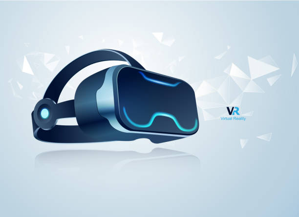 vr headset realistic vr headset for decoration or infographics, concept of virtual reality technology training equipment stock illustrations