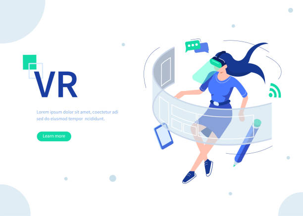 vr Woman use vr technologyconcept. Can use for web banner, infographics, hero images. Flat isometric vector illustration isolated on white background. vr stock illustrations