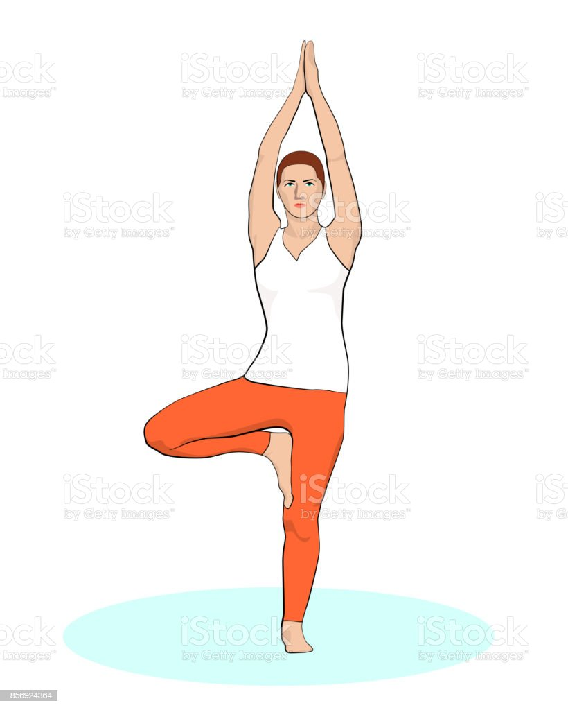 vrikshasana vector art illustration