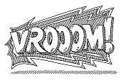 Vrooom! Comic Text Drawing
