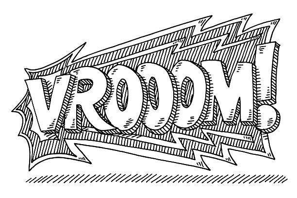 Vrooom! Comic Text Drawing Hand-drawn vector drawing of a Vrooom! Comic Text, Loud Car Noise. Black-and-White sketch on a transparent background (.eps-file). Included files are EPS (v10) and Hi-Res JPG. motor sport stock illustrations