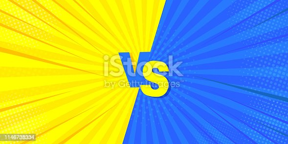Vs fighting a comic background. Mega idea for comics, in retro style. Vector illustration of yellow and blue.
