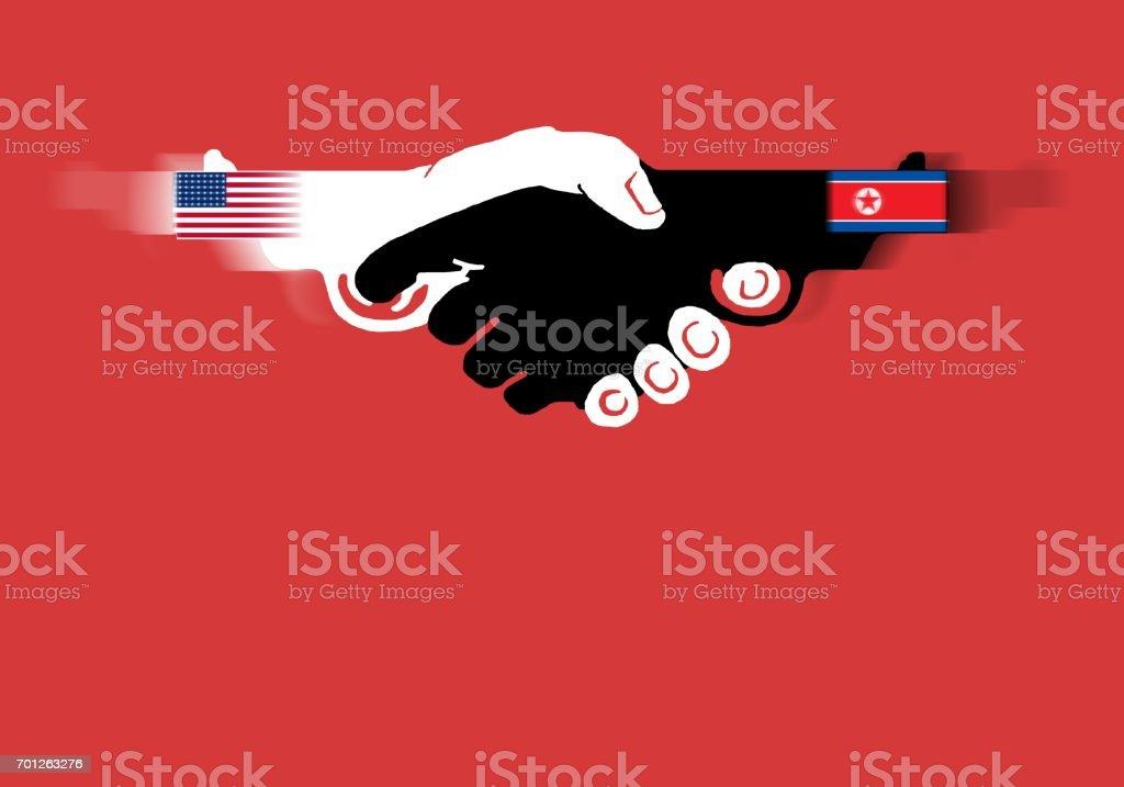 USA vs North Korea vector art illustration