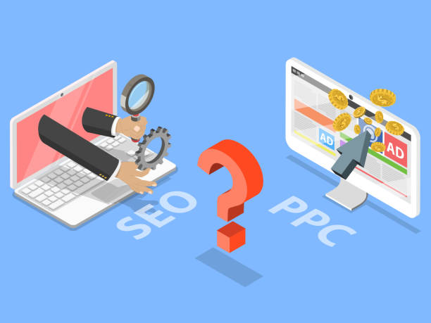 seo vs ppc flat isometric vector concept. - seo stock illustrations, clip art, cartoons, & icons