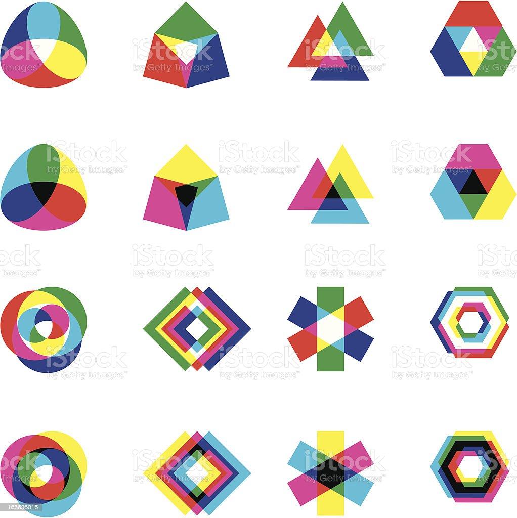 CYMK vs RGB shapes royalty-free cymk vs rgb shapes stock vector art & more images of black color