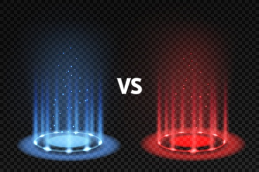 Vs. Versus battle glowing podiums for fighters matching, blue and red circular glow. Mma and boxing challenge, competition vector concept