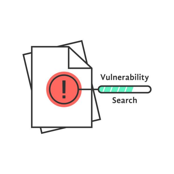 stockillustraties, clipart, cartoons en iconen met pictogram van de dunne lijn van beveiligingslek zoeken - kwetsbaarheid