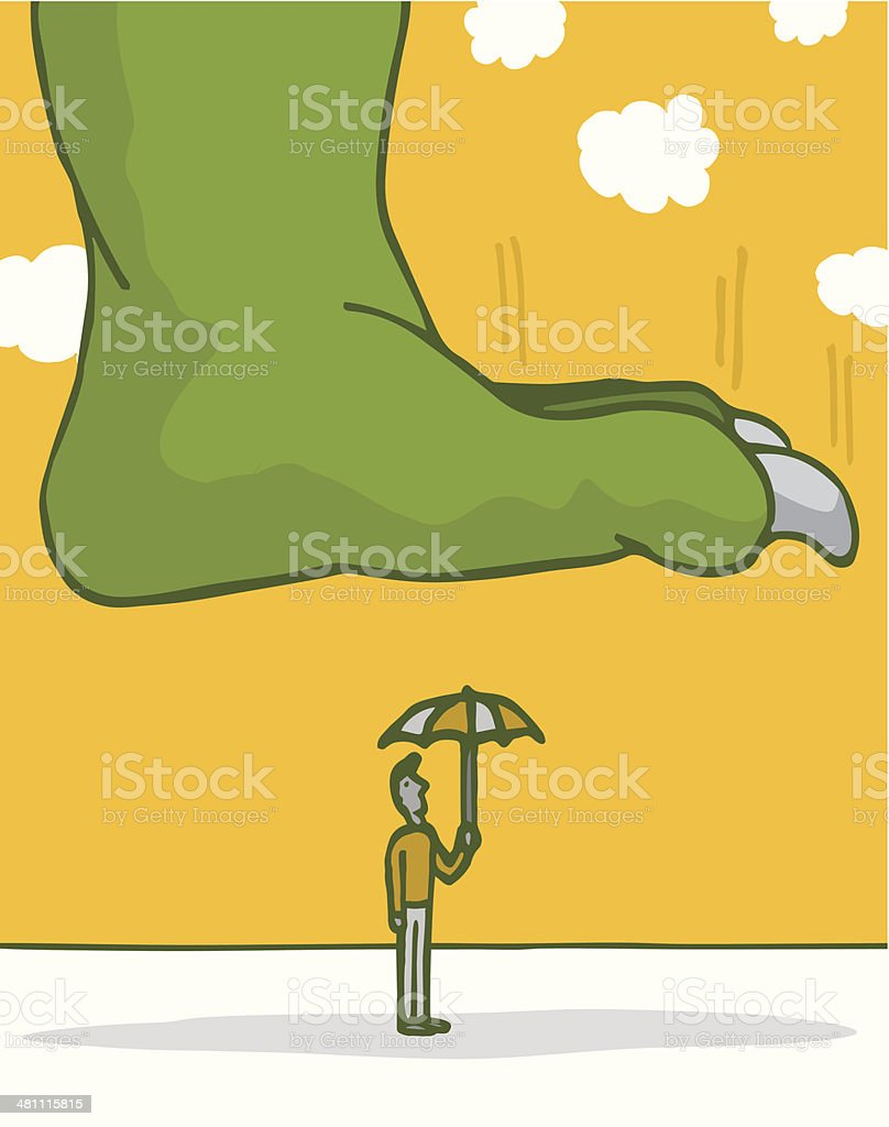 Vulnerable man about to get stomped vector art illustration