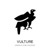 vulture icon vector on white background, vulture trendy filled icons from Animals and wildlife collection