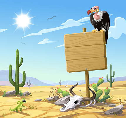 Vulture Sitting On A Wooden Sign In The Desert
