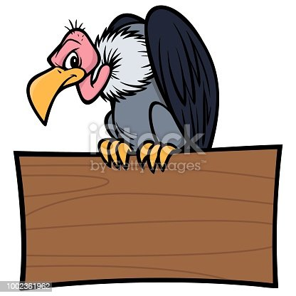 A vector cartoon illustration of a Vulture sitting on a wood Sign.