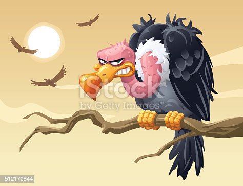 Illustration of a smirking vulture sitting on a branch looking at the camera. In the background three vultures are flying in the sky observing their surroundings for food.