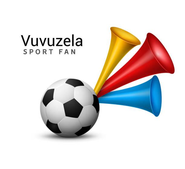 vuvuzela-trompeten-fußball-fan. vektor-sport fußball spielen fan symbol mit vuvuzela oder trompete design - kamerun stock-grafiken, -clipart, -cartoons und -symbole