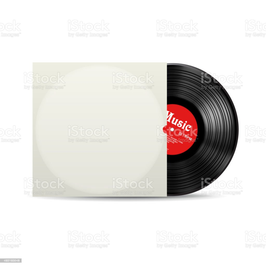 Vynil record cover box realistic vector vector art illustration