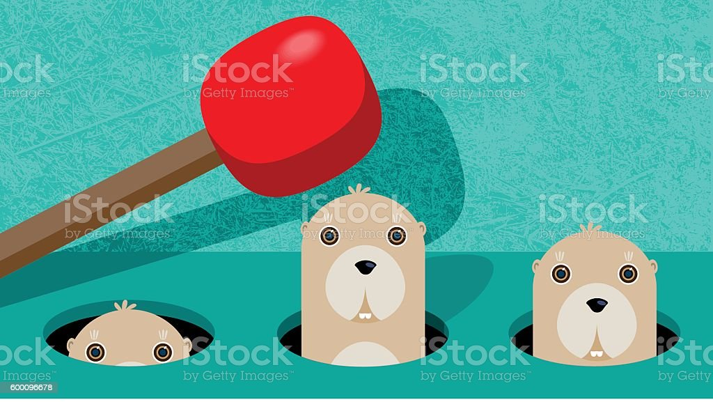 Wack-a-Mole vector art illustration