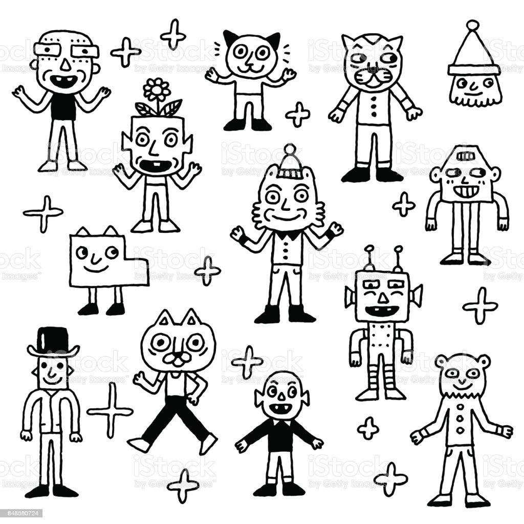 Wacky And Funny Doodle Characters 2 Outline Vector Illustrations