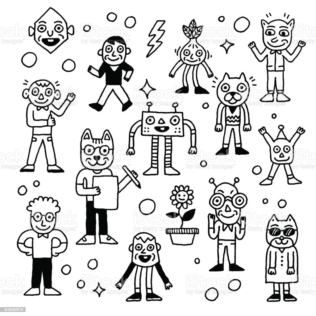 Wacky And Funny Doodle Characters 4 Outline Vector Illustrations