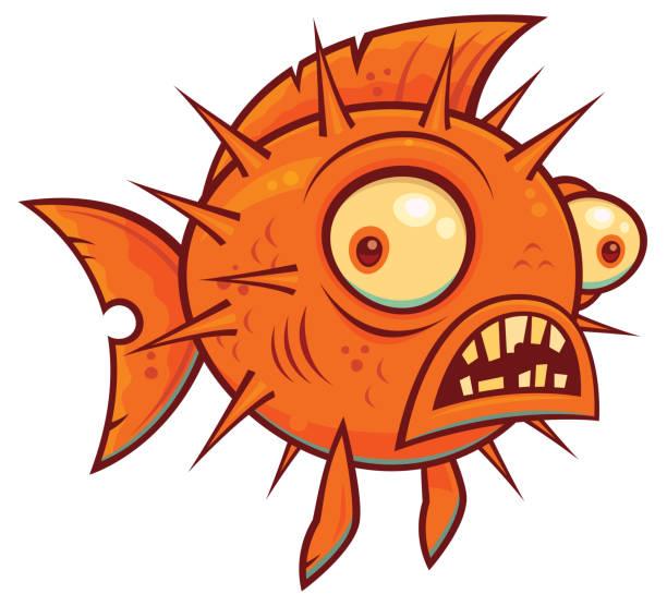 Wacky Cartoon Blowfish vector art illustration
