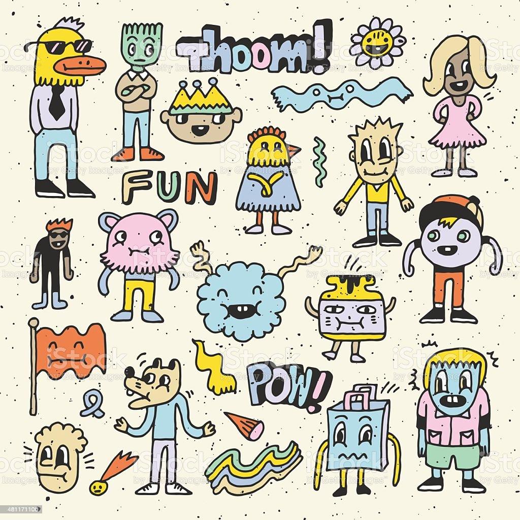 Wacky crazy colorful doodles set 2. Vector illustration. Hand drawn.