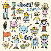 Wacky crazy colorful doodles set 2. Vector illustration. Hand drawn.