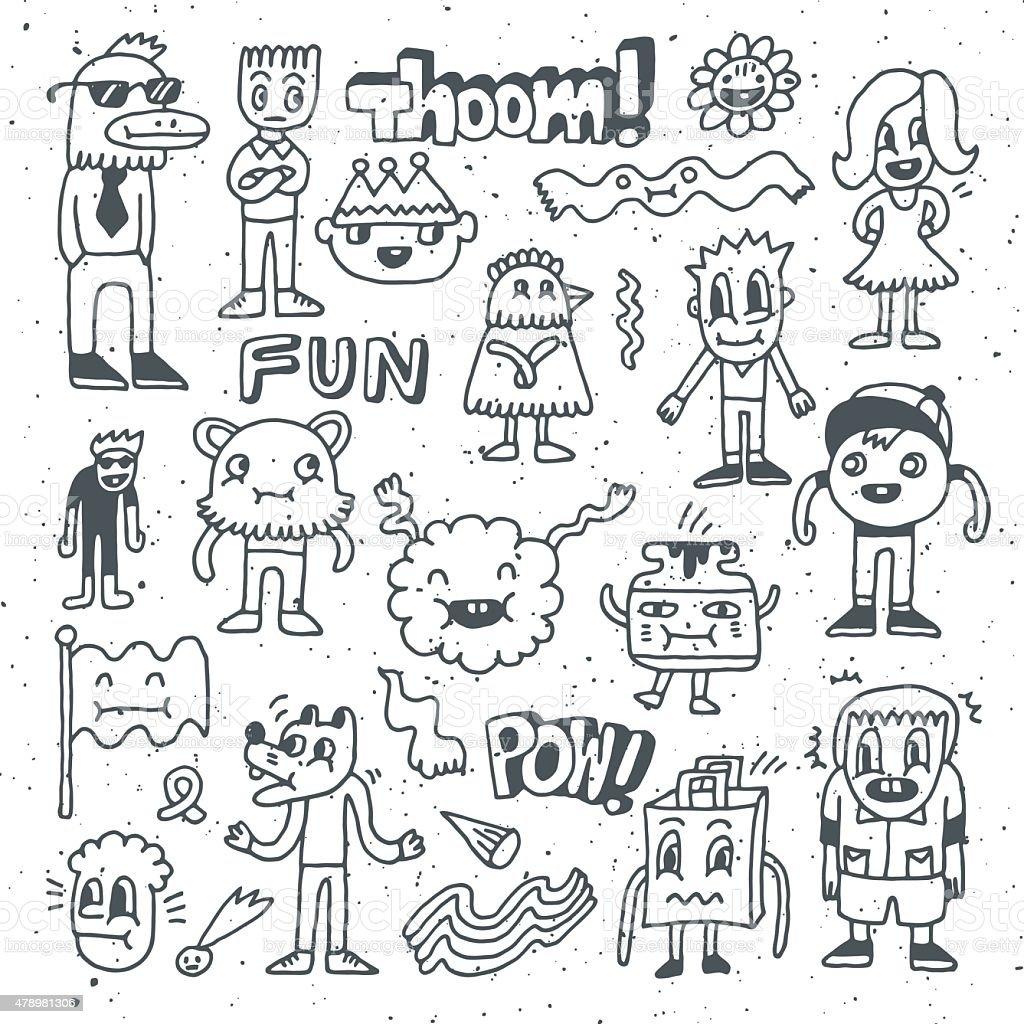Wacky crazy doodles set 2. Vector illustration. Hand drawn.